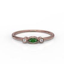 Solid Rose Gold Hidden Ra Green CZ Minimalist Ring - £115.99 GBP