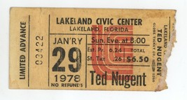 RARE Ted Nugent & Golden Earring 1/29/78 Lakeland FL Civic Center Ticket... - $24.74