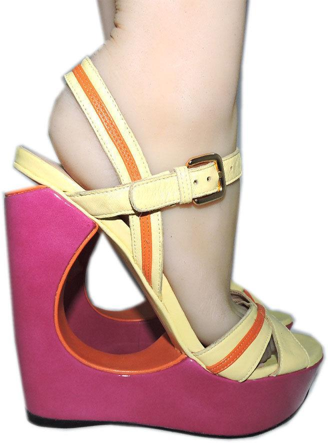 Stuart Weitzman Cut Out Pink Wedge Sandals Color Block Slingback Shoes 10 image 3