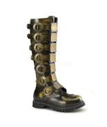 "DEMONIA Steam-30 Series 1 1/2"" Heel Knee-High Boots - Bronze Rub-Off Lea... - $92.95"