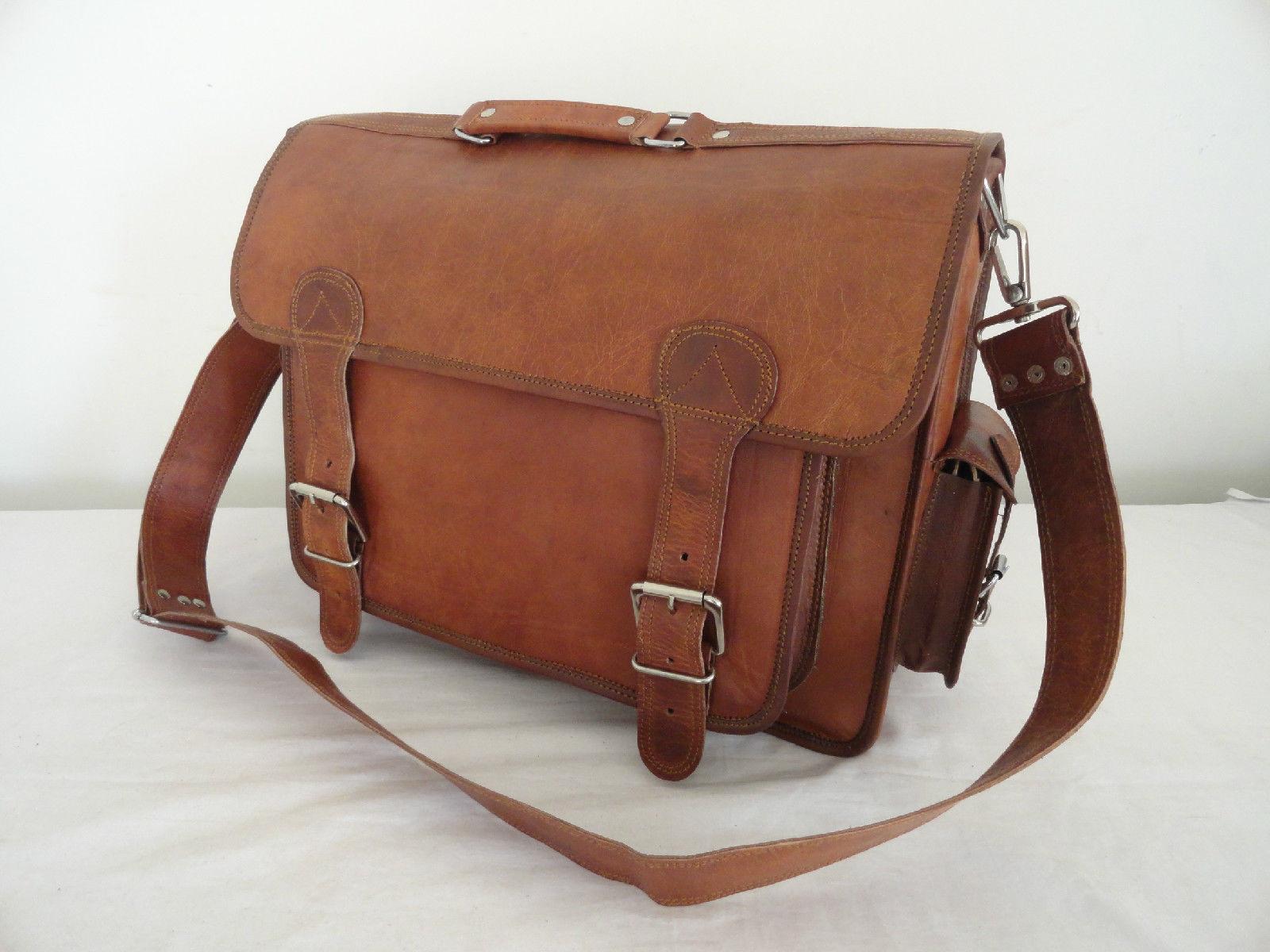 "17"" Real Brown Leather Briefcase Macbook Laptop Satchel Office MENS BAG EDH"