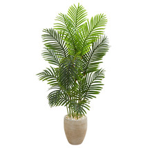 5' Paradise Palm Artificial Tree in Sand Colored Planter Office Yard Home Decor - $175.49