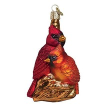 """Old World Christmas 4"""" Pair of Cardinals Glass Ornament #16045 - $28.55"""