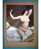NUDE Young Woman Morning in Bed Awoken - COLOR Typogravure Print - $22.95