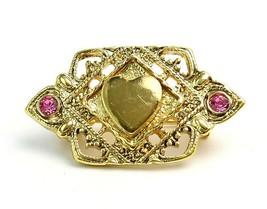 Vintage 60's Filigree Gold Tone Heart Pink Rhinestone Brooch Small Pin - $13.86