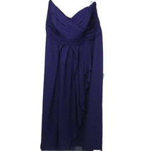 Davids Bridal Womens Bridesmaid Dress Purple Zip Up Pleated Strapless Li... - $26.09