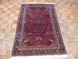 4'1 X 6'4 Hand Knotted Red Antique Fine Sarouk Oriental Rug G1990 - $963.59