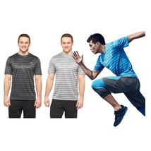 NWT C9 Champion Men Striped Tech T-Shirt Duo Dry UV Protection Comfort Seam Top - $17.99