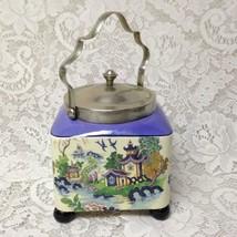 Antique, LS & Sons, Hanley, England, Gaudy Blue Willow, 7inx5in Sq. Biscuit  Jar - $237.45