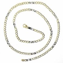 18K YELLOW WHITE GOLD CHAIN 3 MM, 19.7 INCHES, ALTERNATE GOURMETTE AND INFINITE image 3