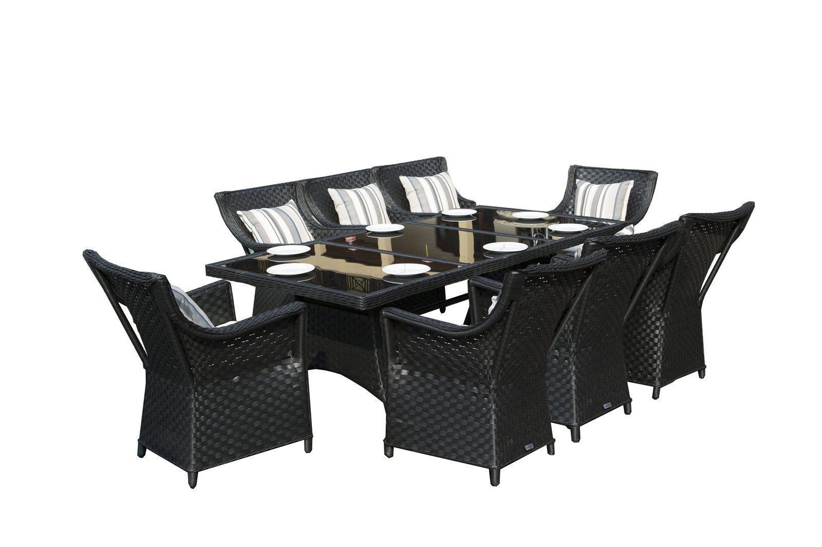 Rectangle Rattan Dining Table with 8 Chairs Garden Conservatory Patio Dining set image 2