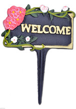 "Welcome Garden Sign Pink Flowers Black Cast Iron Yard Plaque Flower Bed 7"" W N - $13.99"