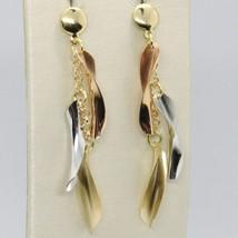 Pendientes de Oro Amarillo y Rosa Blanco 750 18 CT Colgantes a Flecos Ma... - $311.02