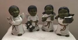 4 African American Angel Figurines Black Boys Girls Chorus Musical Instr... - $20.17