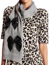 Kate Spade New York Muffler Scarf Bows Wool Knit Gray NEW - $130.68