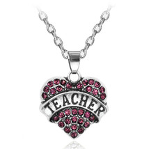 """PINK-RHINESTONE """"Teacher"""" Heart Necklace >C/S & H Available< (2399) - $3.50"""