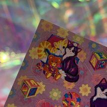 LEGIT VINTAGE Lisa Frank Sticker Sheet S722 Kitties & Teddy Bears & Blocks image 5