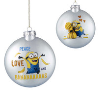 Despicable Me-Minion Ornament-Glass -Peace Love and Bananas-Holiday! - $14.24