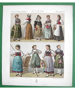 SWITZERLAND Costume of Swiss Women - RACINET Color Litho Print - $12.15