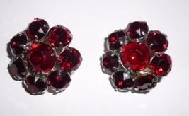 Pair Of Red Rhinestone Clip On Earrings - $9.99
