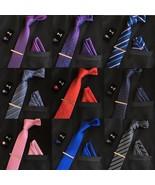 Men Tie and Pocket Square Set Classic Wedding Necktie Tuxedo Business Pa... - $11.99