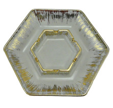 Ashtray Vintage Beatiful Gold White Hexagon Shaped #1006 Haeger Mid Century - $17.29