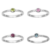 Stackable 925 Fine Silver Set Of 4 Band Tourmaline Peridot Women Solitai... - $28.57+