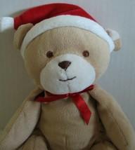 Carters Just One Year Baby Santa Hat Teddy Bear Lovey Plush Soft Toy Tan... - $25.19