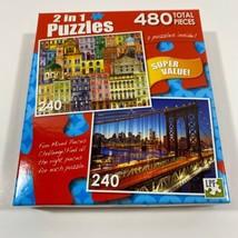 "Manhattan Bridge & City View 480 (Small) Piece Puzzles size:11.25""X9"" 2 ... - $9.93"