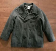 Old Navy Boys Pea Coat Jacket Size Small 6-7 Gray Wool Blend Double Brea... - $29.99