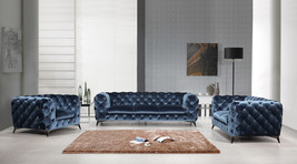 Divani Casa Delilah Modern Blue Fabric Sofa Set - $2,449.00