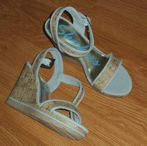 Skechers Wedge Heel Shoes Size 9 Strappy Blue Ankle Strap Nwt - $25.99