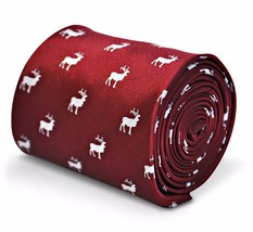 Frederick Thomas Dark Red Mens Tie with Deer/Stag silhouette hunting FT3222