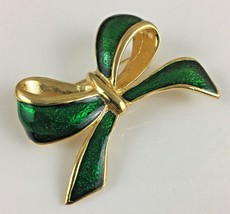 Vintage AAI Green and Gold Bow Enamel Brooch Pin - $14.99