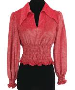 70s Deep Coral Pinkish Red Lurex Metallic Glitter Dagger Wing Collar Smo... - $140.00
