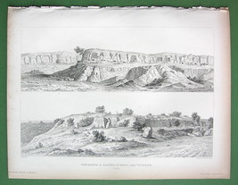 ARCHITECTURE PRINT 1850: ITALY Viterbo SIte of Etruscan Tombs at Castel ... - $13.05