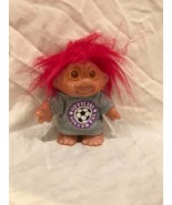 Doll Troll Official Soccer Fan Red Hair DAM 1986 - $5.68