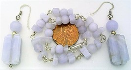 Blue Lace Agate Silver Wire Wrap Bracelet Earrings Set - $27.18