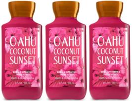 Bath & Body Works Oahu Coconut Sunset Body Lotion 8 fl oz Set Of Three Bottles - $22.79