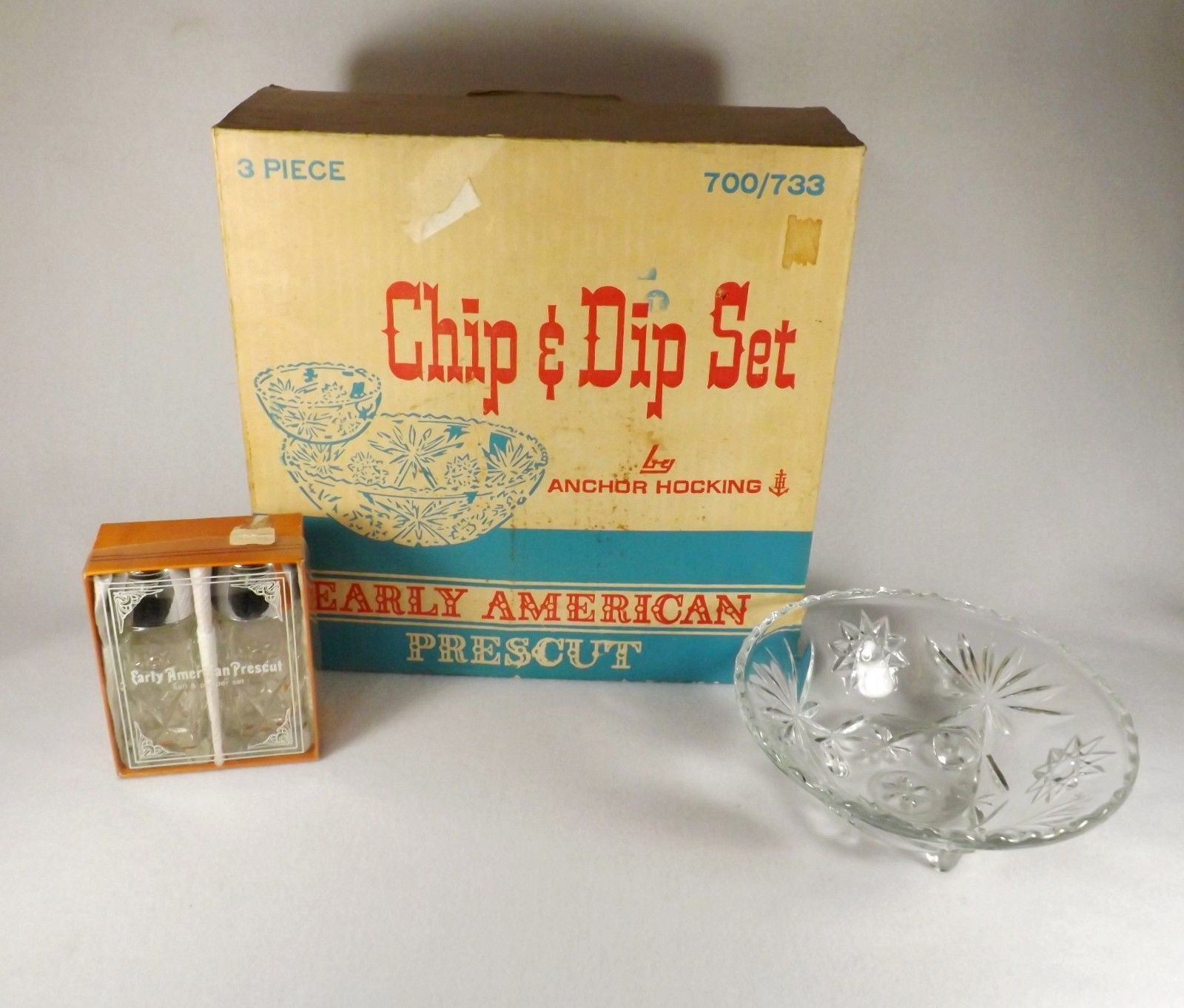 Primary image for LOT OF ANCHOR HOCKING EARLY AMERICAN PRESCUT-CHIP/DIP SALT &PEPPER IN BOX & BOWL