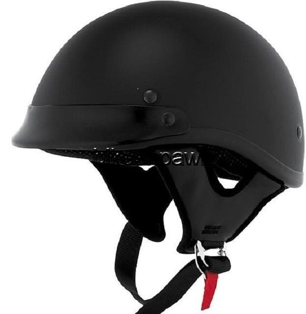 New M Skid Lid Traditional Flat Black 1/2 Helmet DOT