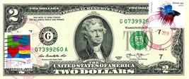 MONEY US $2 DOLLARS 2013 STAMP CHICAGO CANCEL LOVE PETS BETTA FISH GEM UNC - $74.88