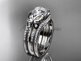 Double rings wedding set platinum  Moissanite engagement ring ADLR514S - $4,695.00