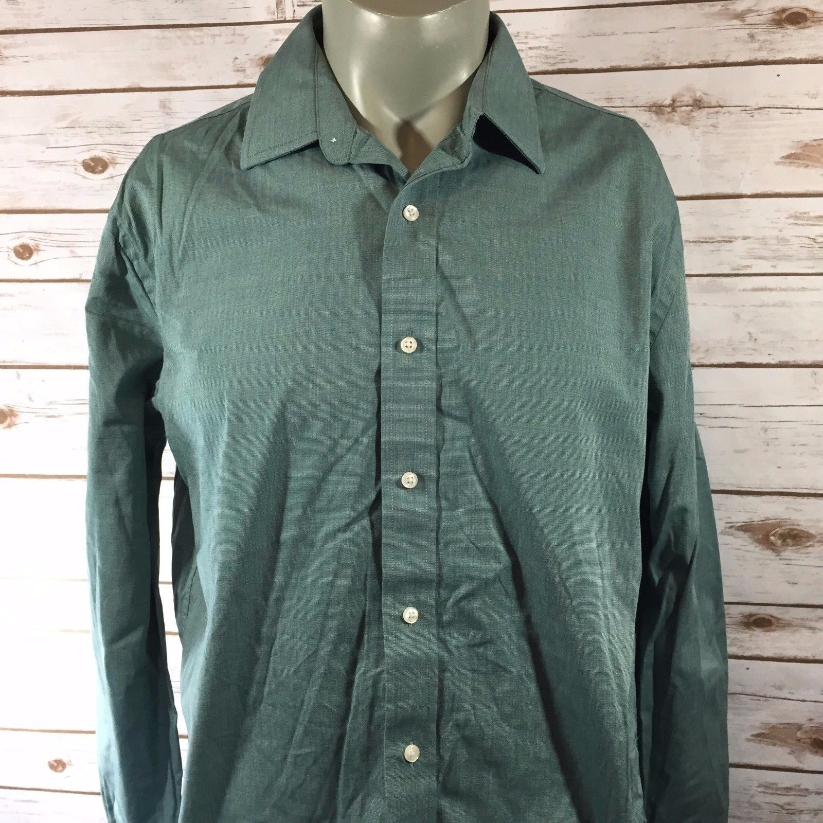 fcf57bf1 57. 57. Previous. Tommy Hilfiger Mens Shirt Size 16 1/2 34 35 Green Long  Sleeve Button Front