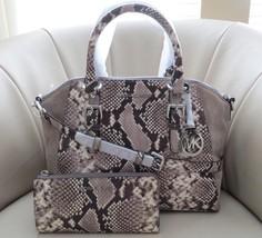 Michael Kors Ciara Lrg TZ Python Embossed Leather Crossbody & Bedford Wallet NWT - $310.86
