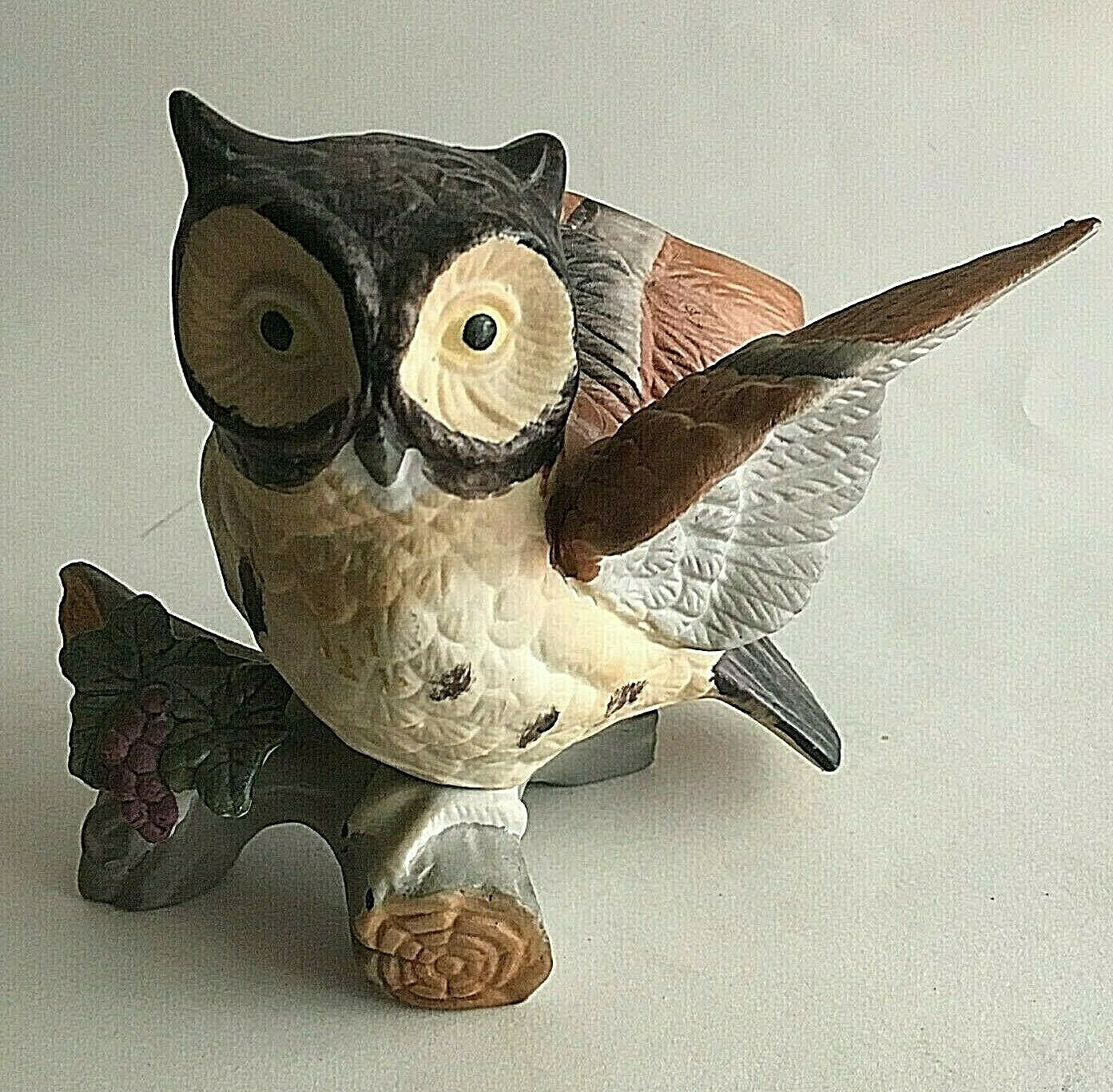"Primary image for Vintage Owl on Branch Ceramic Figurine Statue Collectible 6""X5""X3"" Mid Century"