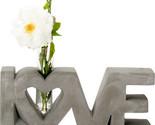 Polished Concrete Love Single Stem Flower Vase Home Decor Floral Display