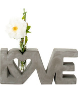 Polished Concrete Love Single Stem Flower Vase Home Decor Floral Display - $21.77