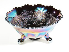 VINTAGE FENTON ELECTRIC AMETHYST CARNIVAL GLASS LEAF CHAIN FOOTED NUT BOWL - $69.30