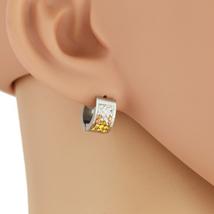 UNITED ELEGANCE Stylish Silver Tone Hoop Earrings With Swarovski Style Crystals - $11.99